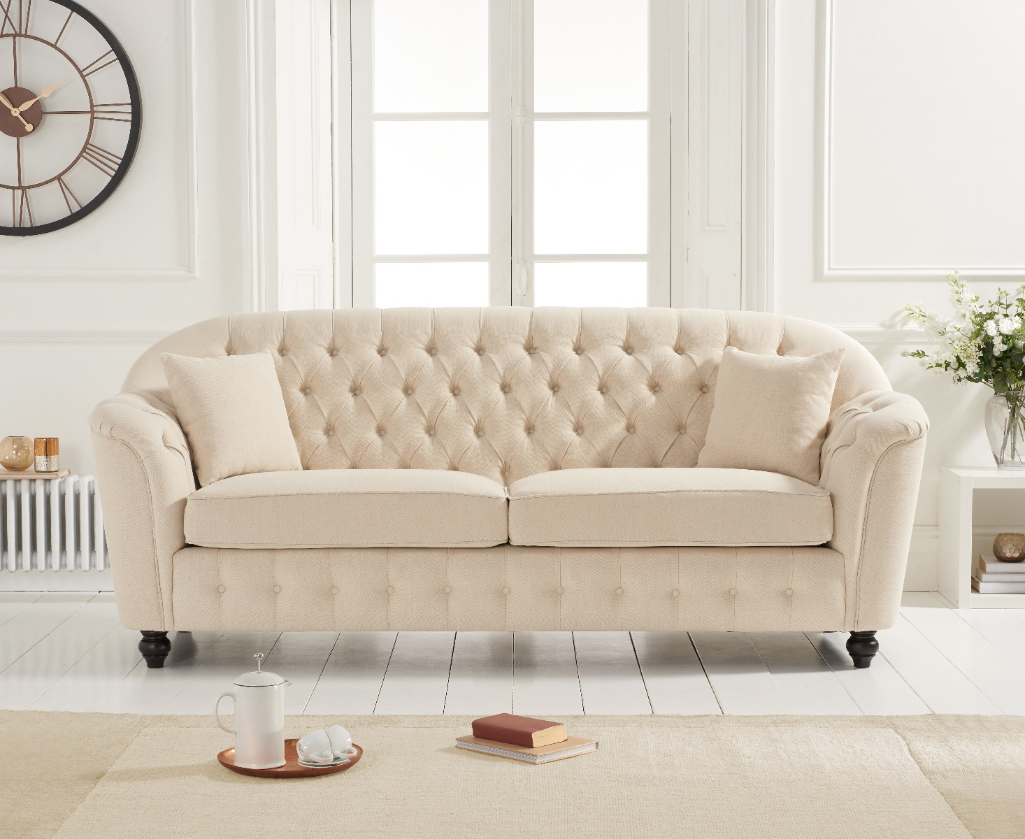 Product photograph showing Christopher Beige Linen 3 Seater Sofa