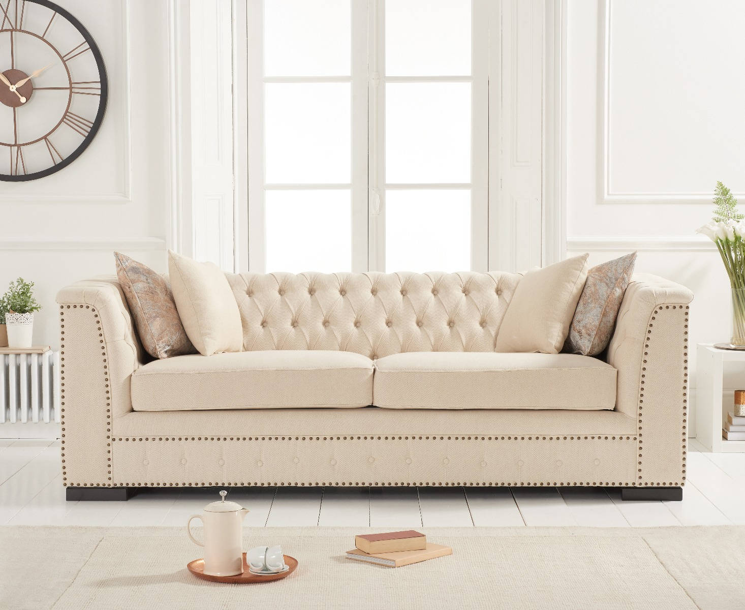 Product photograph showing Porto Beige Linen 3 Seater Sofa