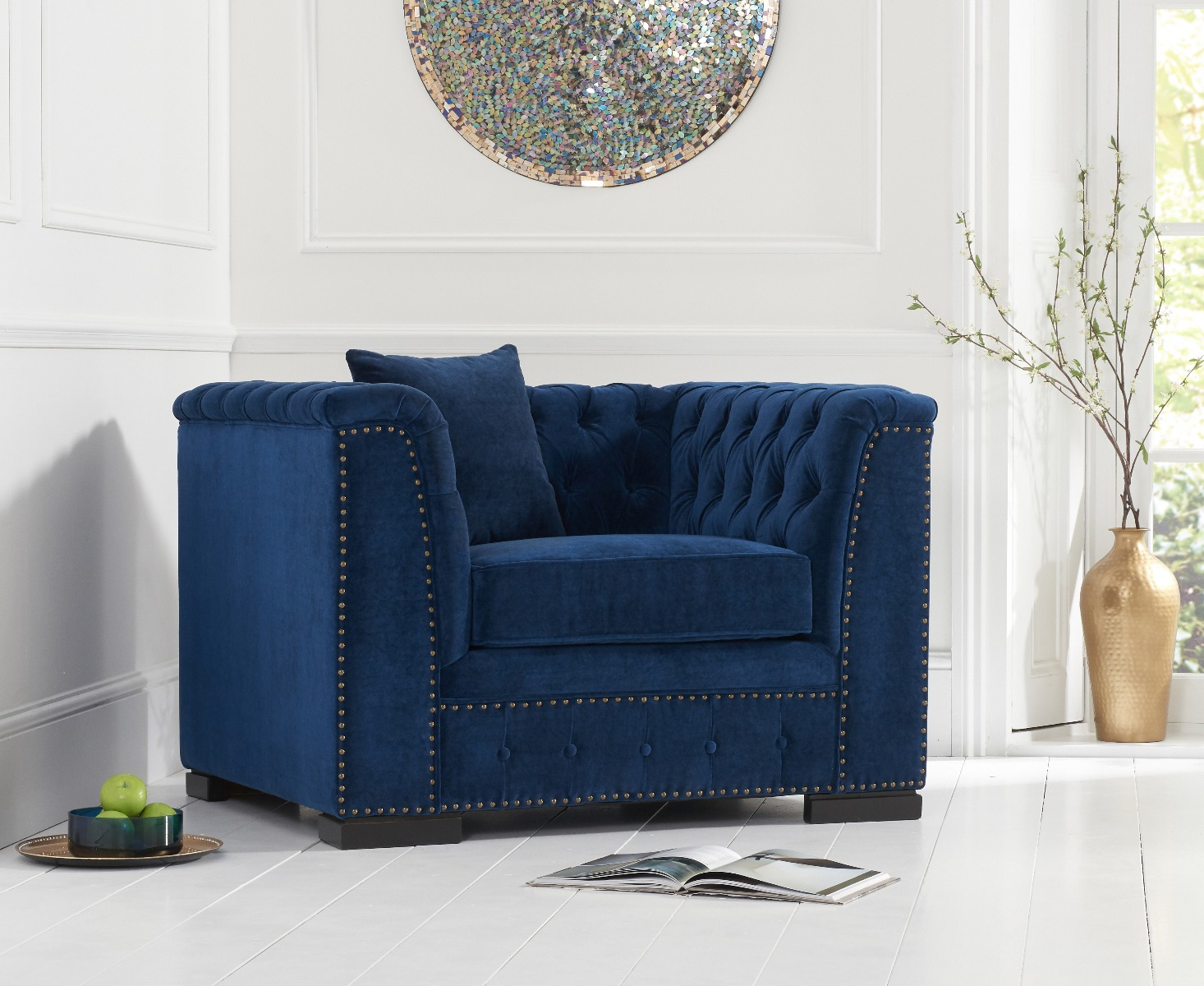 Product photograph showing Porto Blue Velvet Armchair