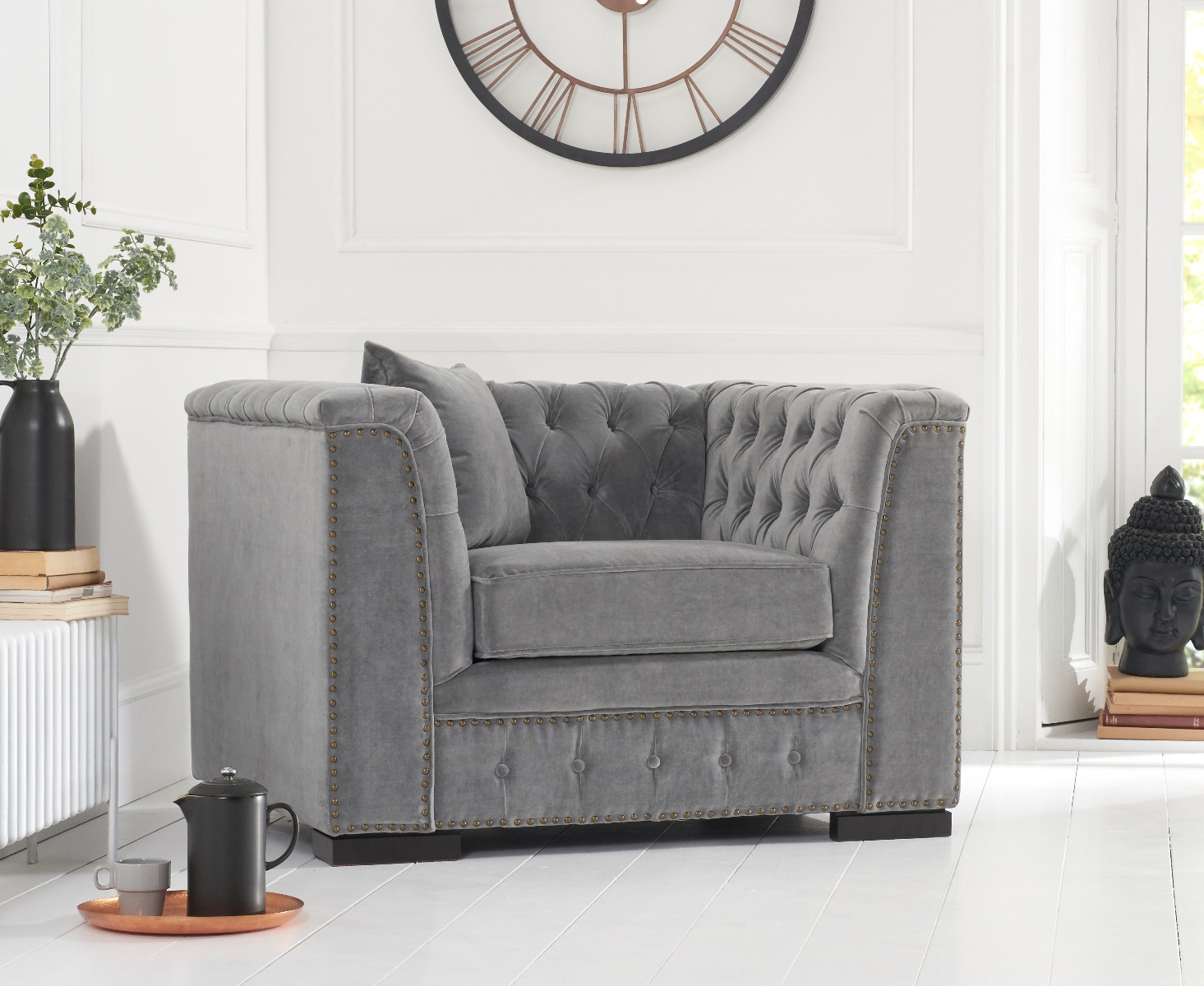 Product photograph showing Porto Grey Velvet Armchair