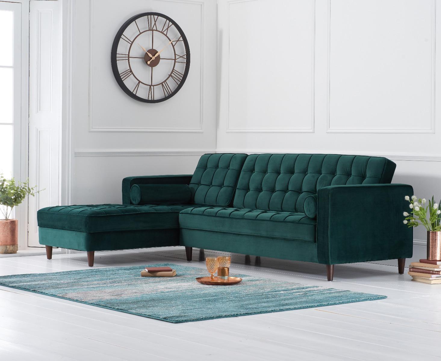 Product photograph showing Atlantic Green Velvet Left Facing Chaise Sofa