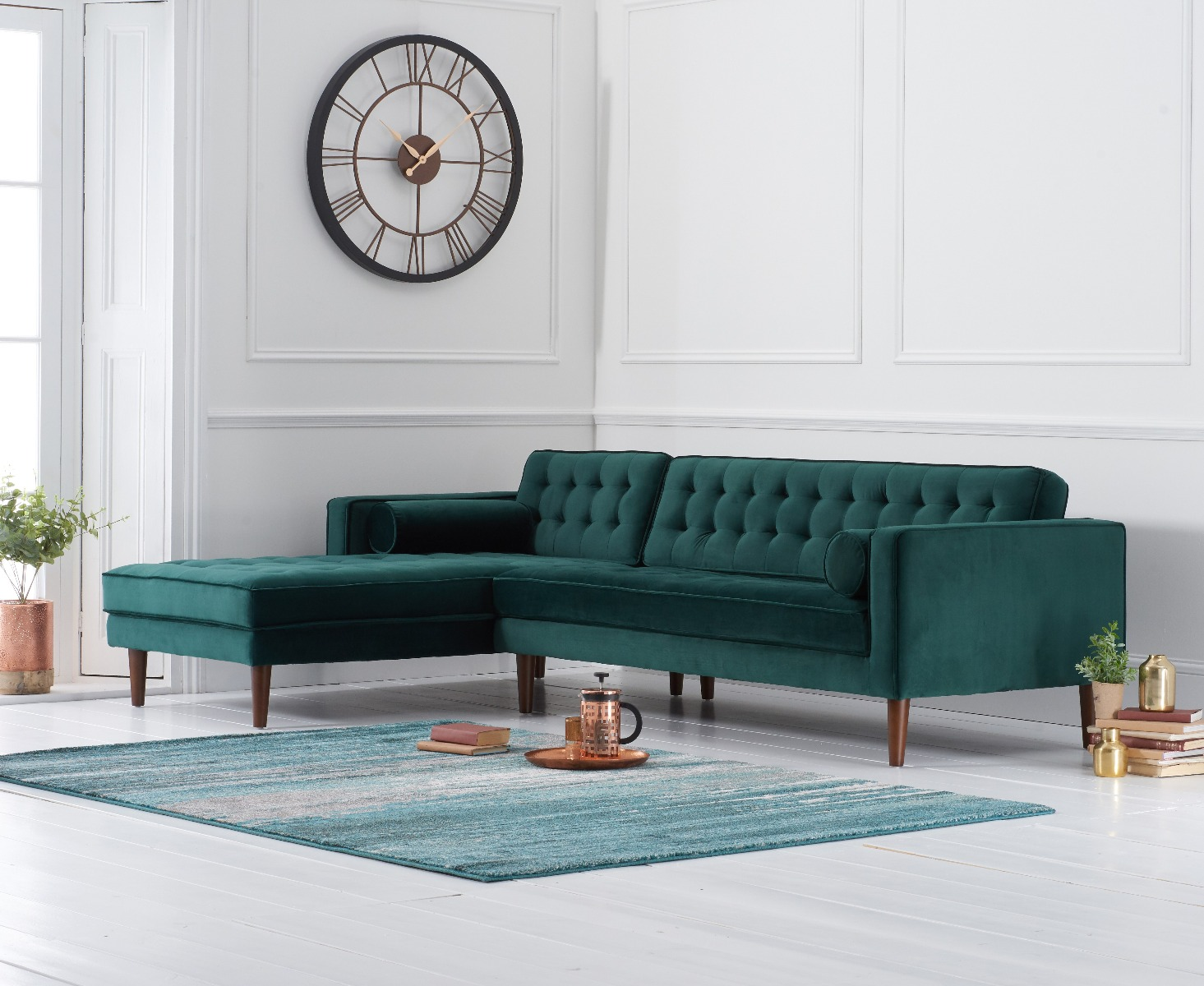 Product photograph showing Indus Green Velvet Left Facing Chaise Sofa