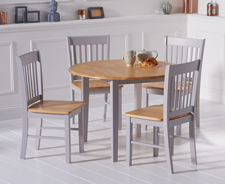 An image of Amalfi Oak and Grey Extending Dining Table with Chairs - Oak and Grey, 4 Chairs