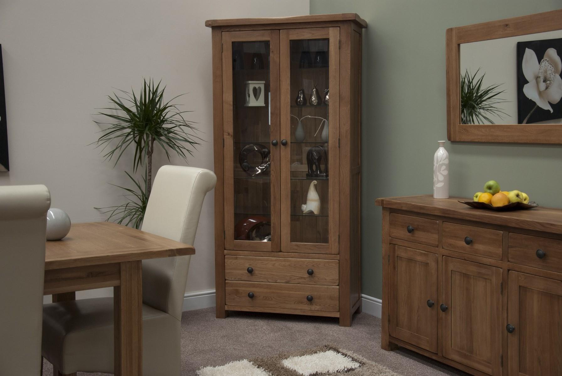 An image of Bramley Oak Glass Display Cabinet