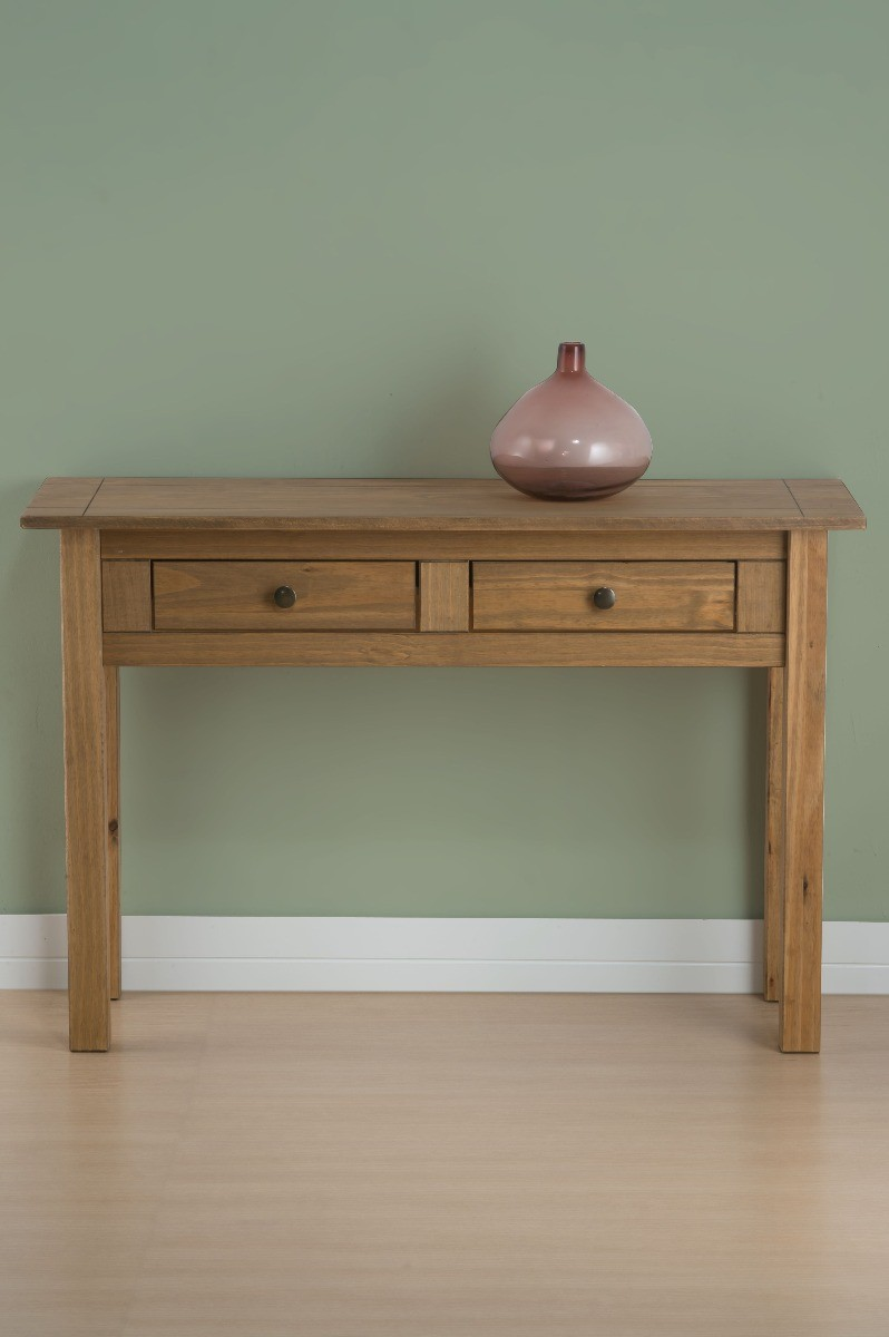 An image of Ortis Distressed Pine 2 Drawer Console Table