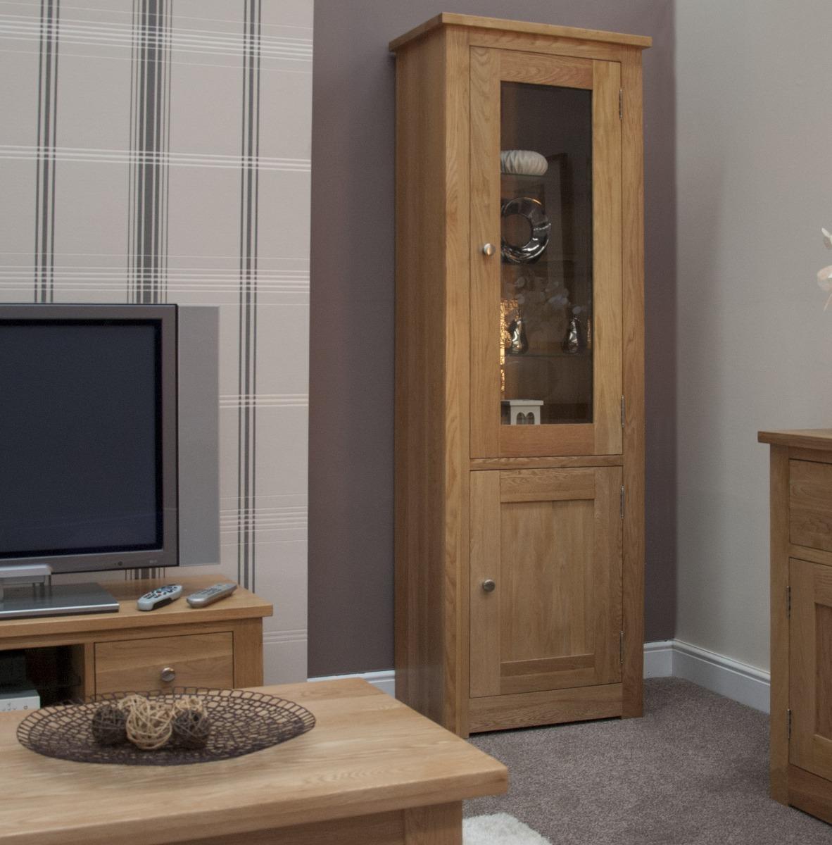 An image of Messina Oak Glazed Single Display Cabinet