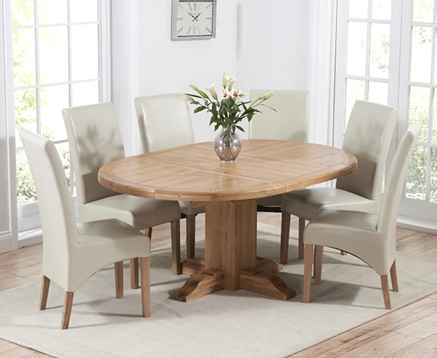 Product photograph showing Torino Solid Oak Extending Pedestal Dining Table With Cannes Chairs - Brown 4 Chairs