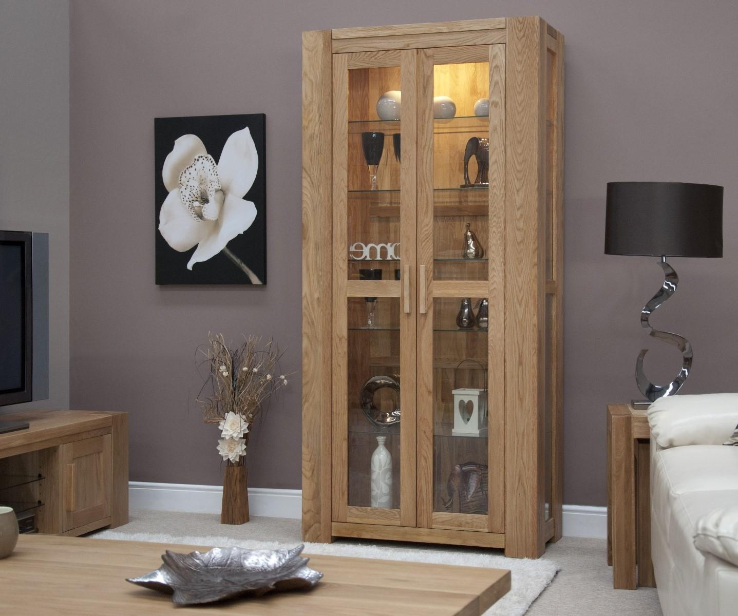 An image of Milan 190cm Oak Glazed Display Cabinet