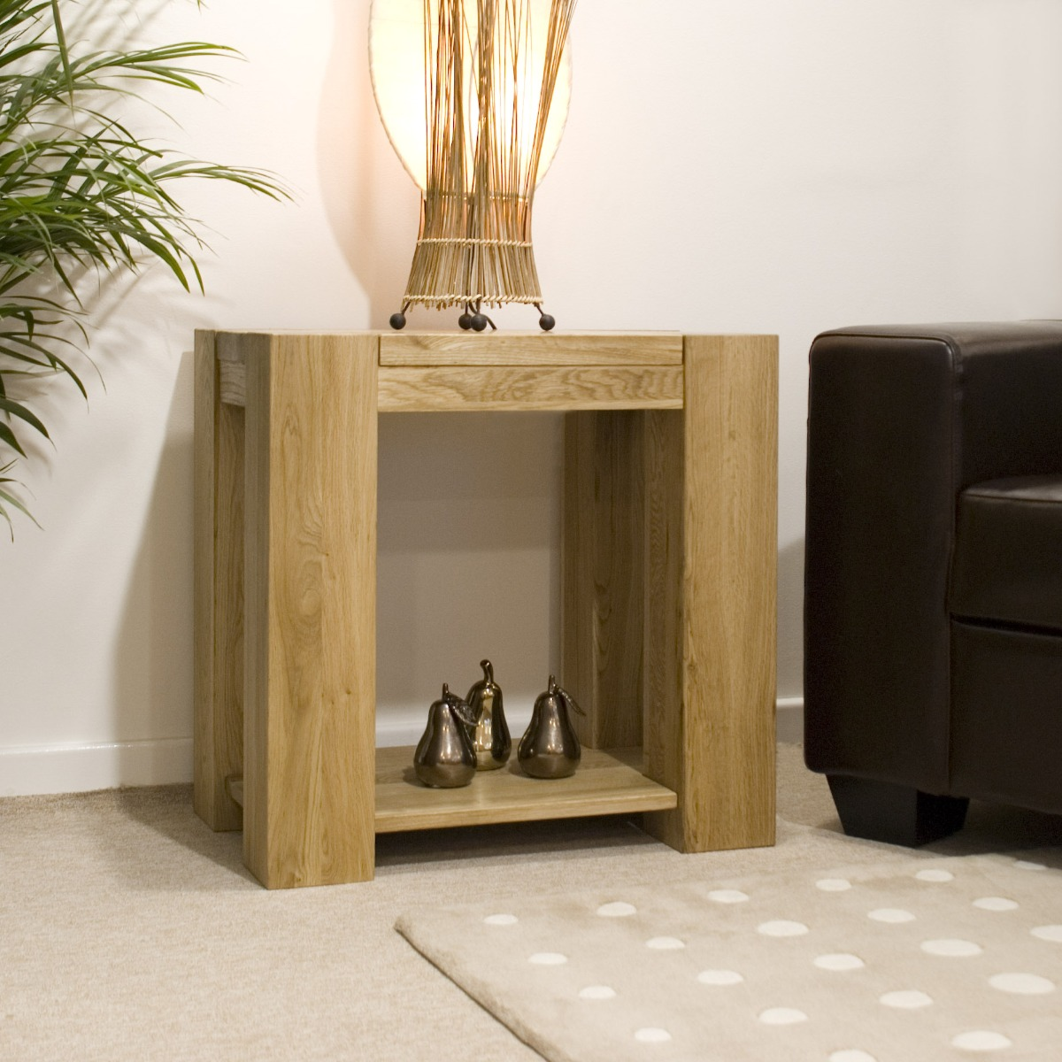 Product photograph showing Milan Oak Side Table