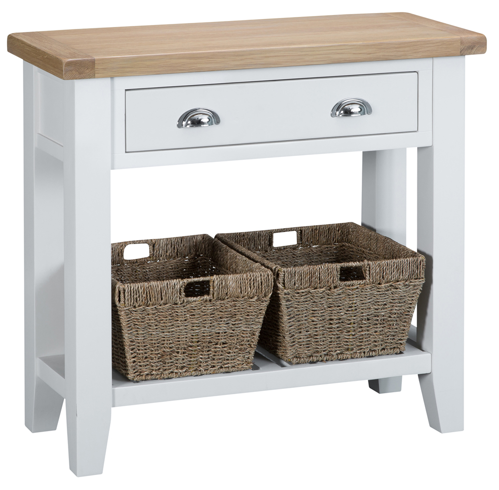 An image of Eden Oak and White Small Console Table