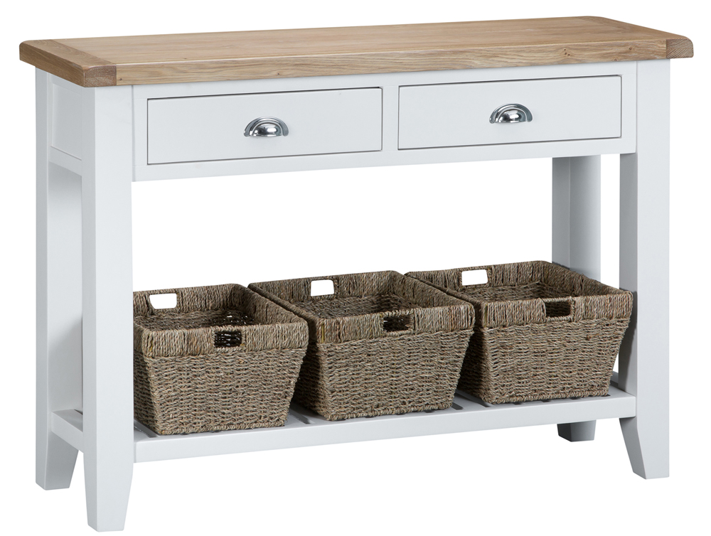 An image of Eden Oak and White Large Console Table