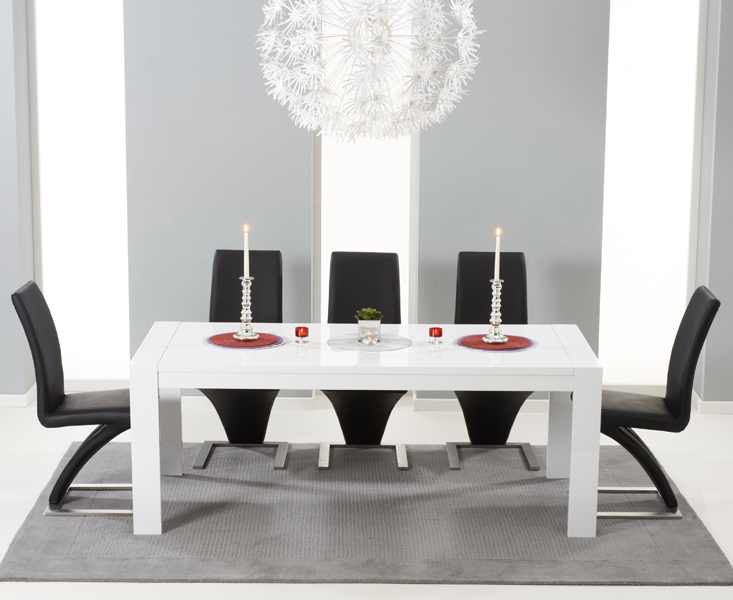 Product photograph showing Venice 200cm White High Gloss Extending Dining Table With Hampstead Z Chairs