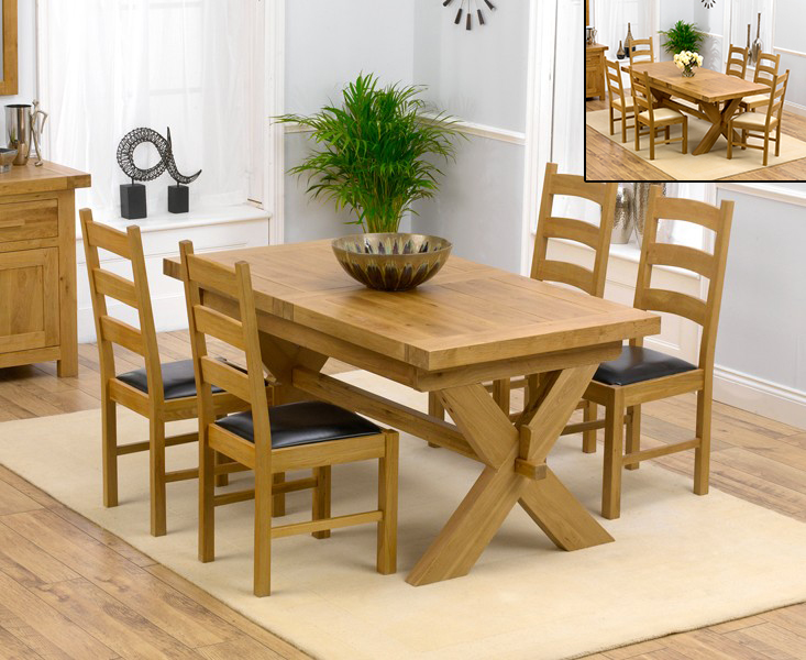 An image of Bordeaux 160cm Solid Oak Extending Dining Table with Vermont Chairs - Brown, 4 C...