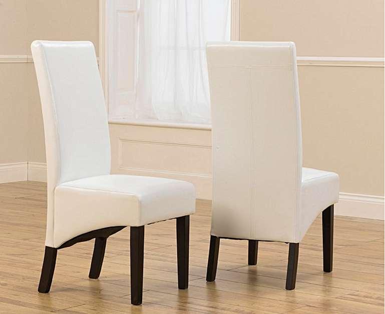 An image of Dakota Dark Oak Faux Leather Ivory White Chairs - Ivory, 2 Chairs