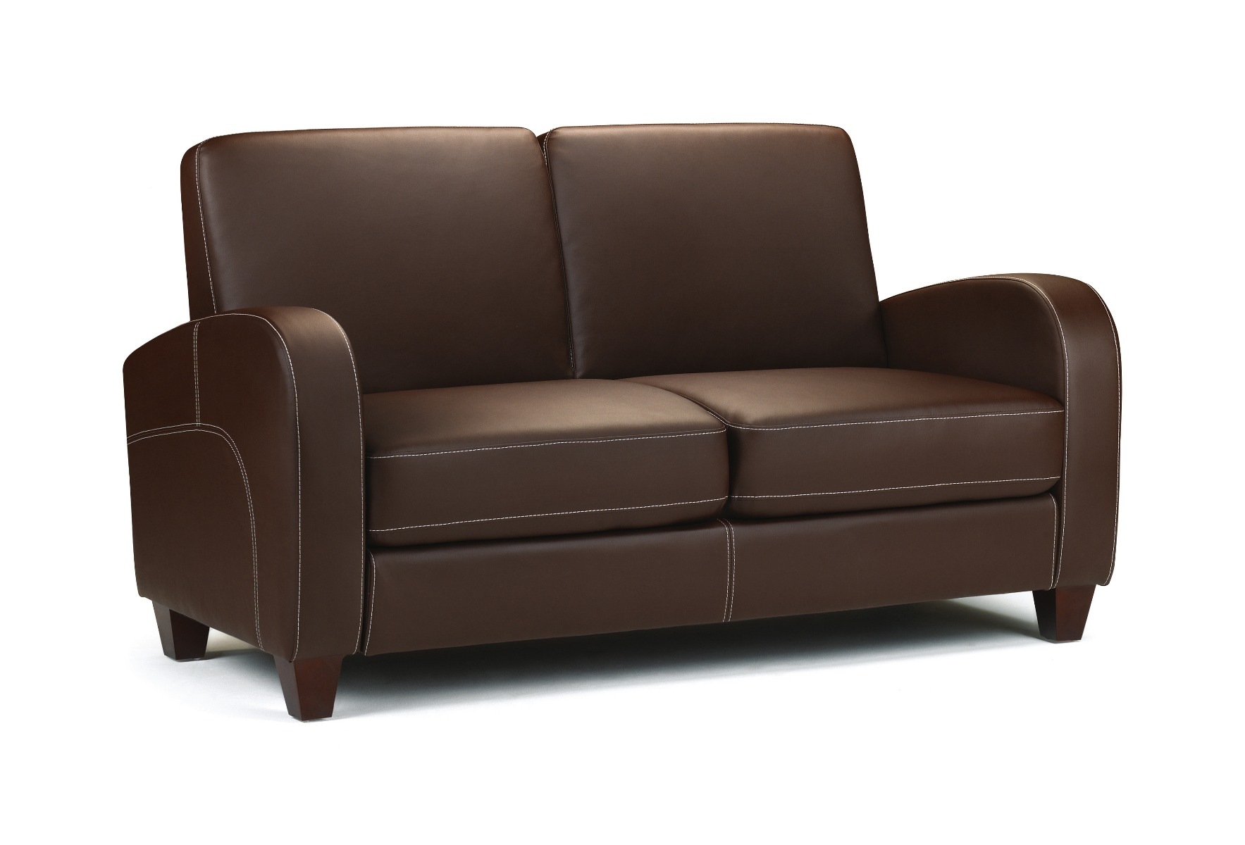 Product photograph showing Vesta Chestnut Faux Leather 2 Seater Sofa