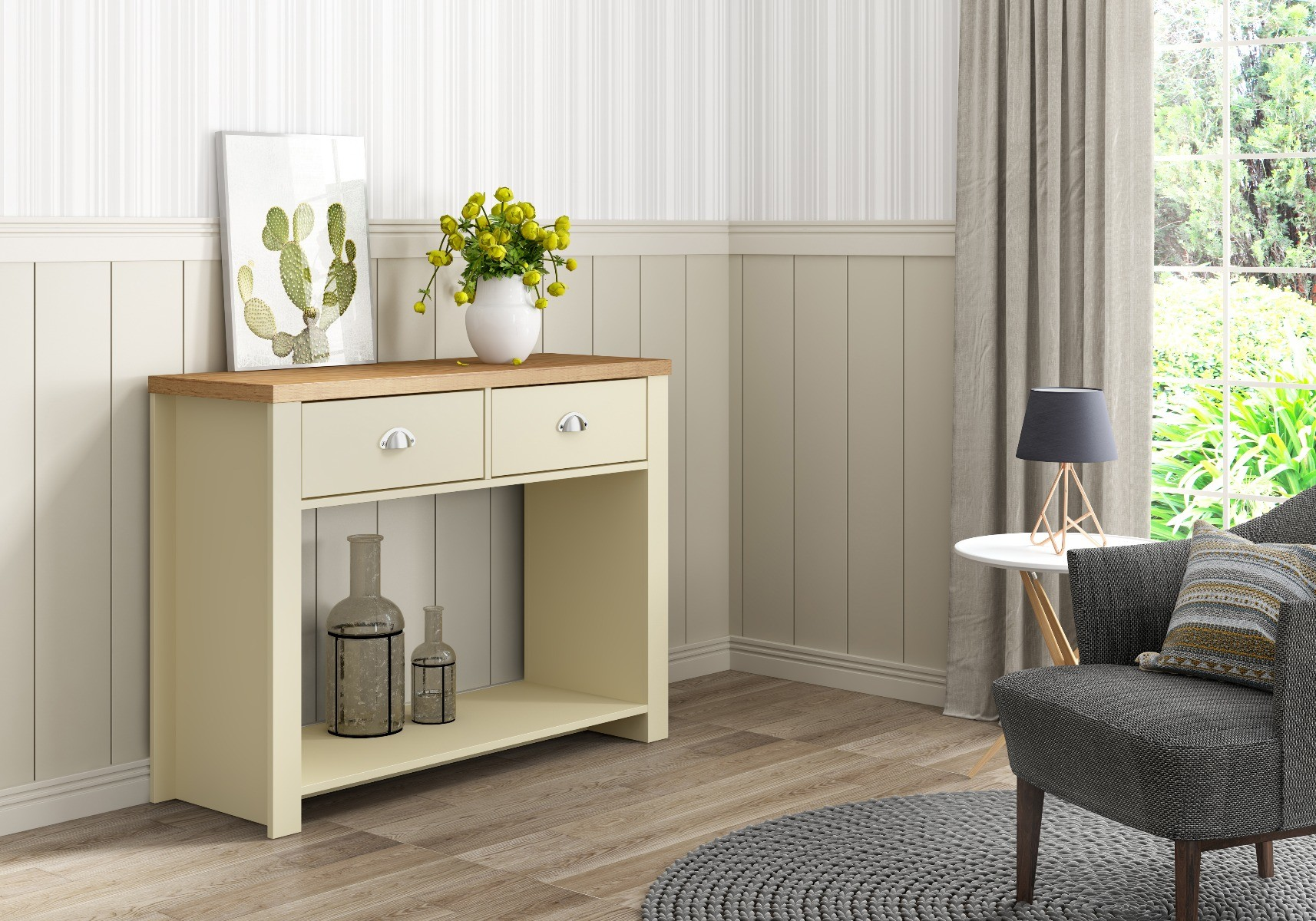 An image of Piper Cream & Oak Effect 2 Drawer Console Table