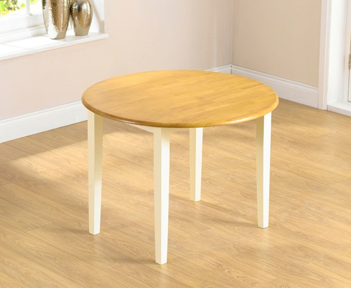 An image of Genoa 100cm Oak and Cream Drop Leaf Extending Dining Table