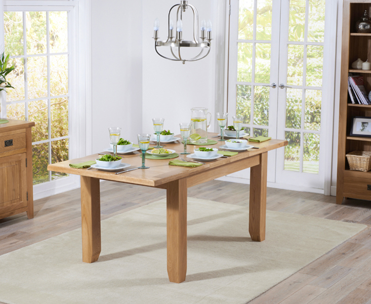 Product photograph showing Yateley 130cm Oak Extending Dining Table