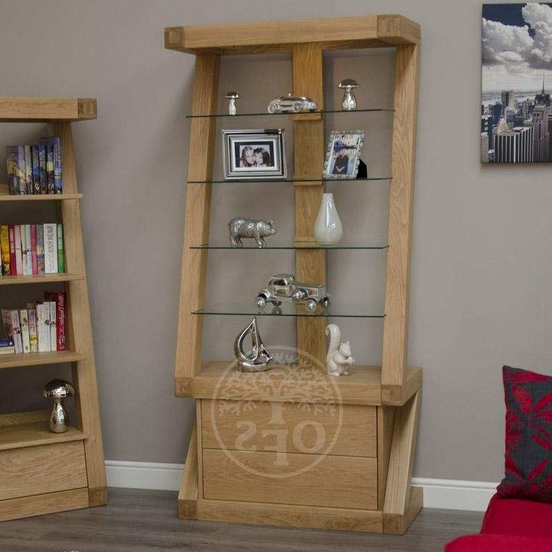 An image of Infinity Designer Oak and Glass Display Cabinet