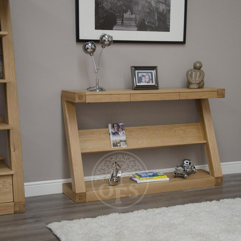 An image of Infinity Oak Designer Wide Hall Table With Shelf