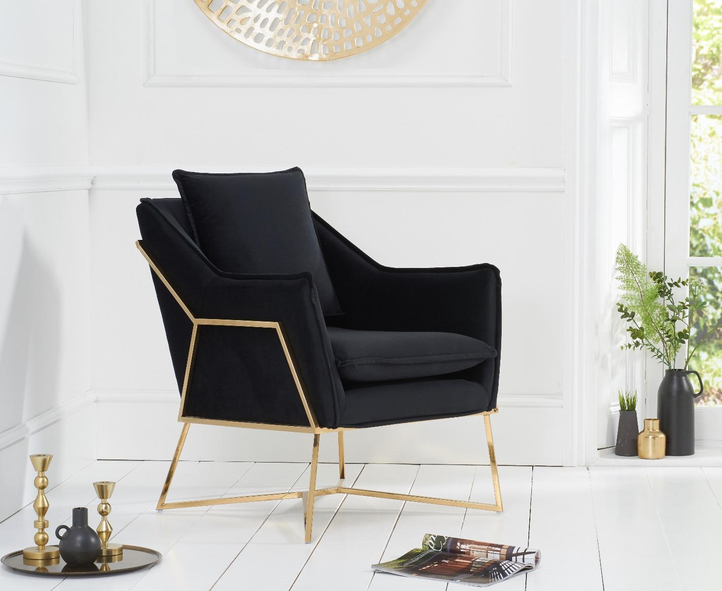 Lara Black Velvet Accent Chair With Gold Legs