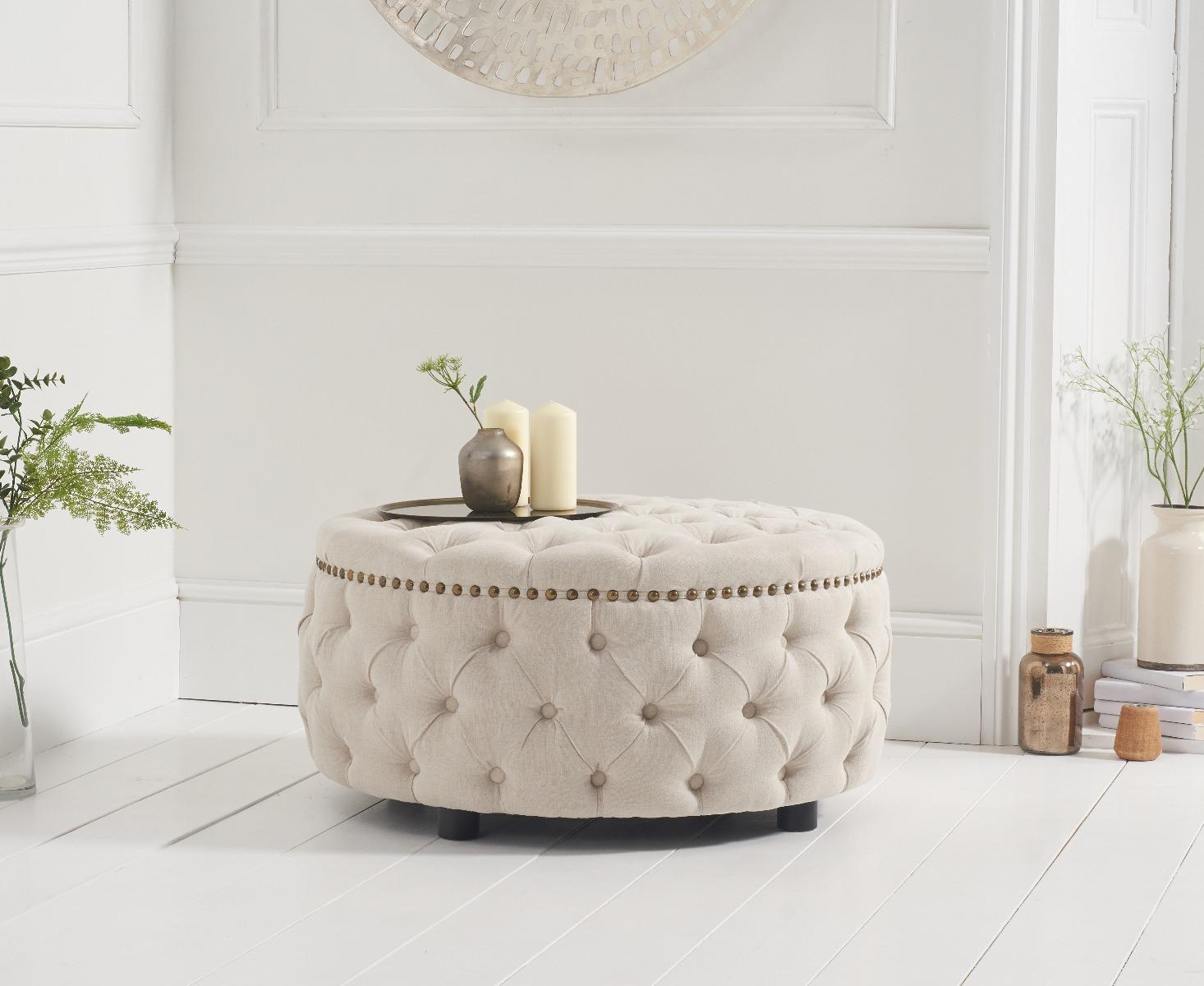 Flora Cream Linen Round Footstool
