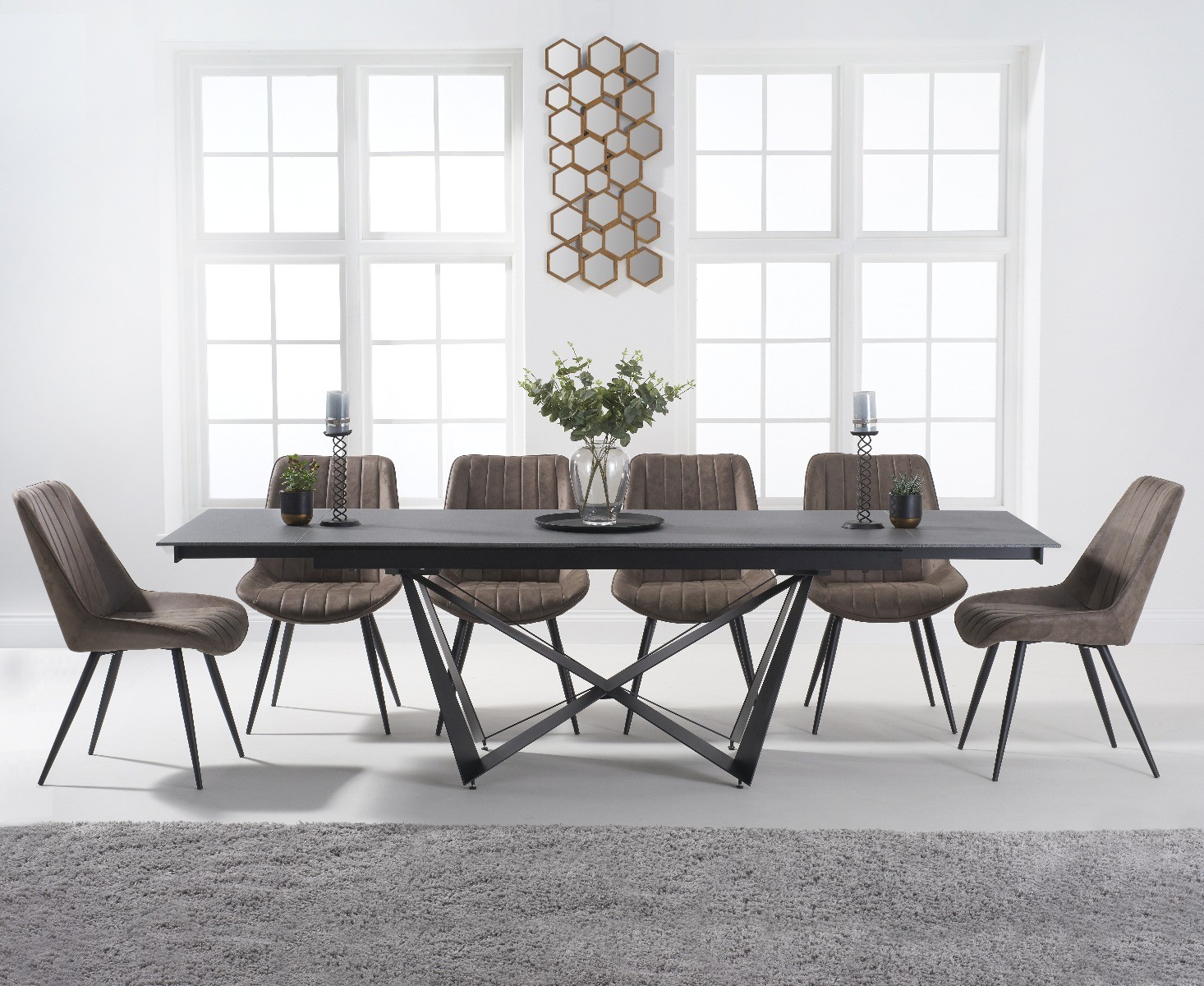 Blenheim 180cm Extending Grey Stone Dining Table With Marcel Antique Chairs