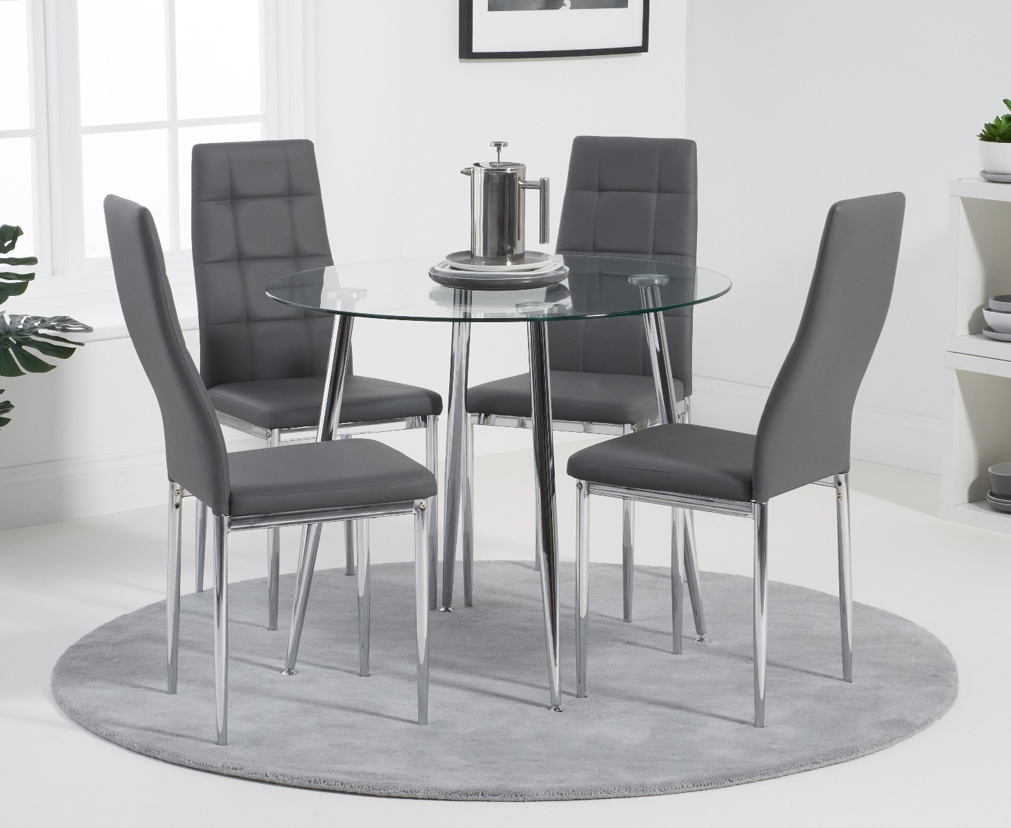 Catalina 90cm Round Dining Table With Catalina Pu Dining Chairs