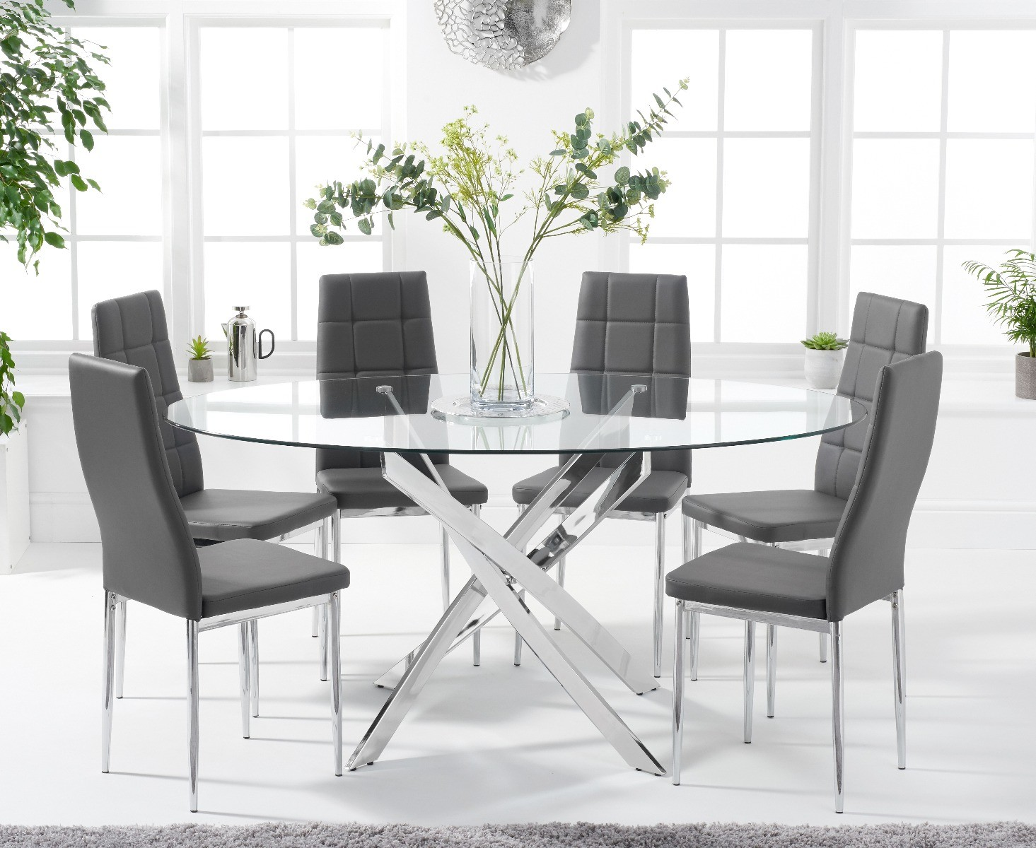 Denver 165cm Oval Glass Dining Table With Catalina Chairs
