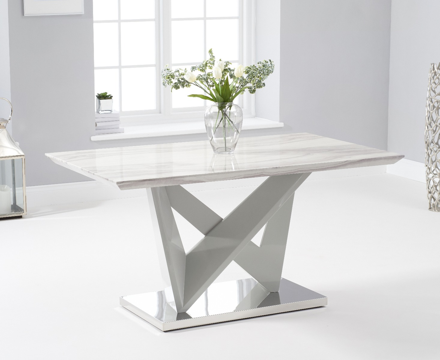 Picture of: Reims 150cm Marble Effect Carrera Light Grey Dining Table