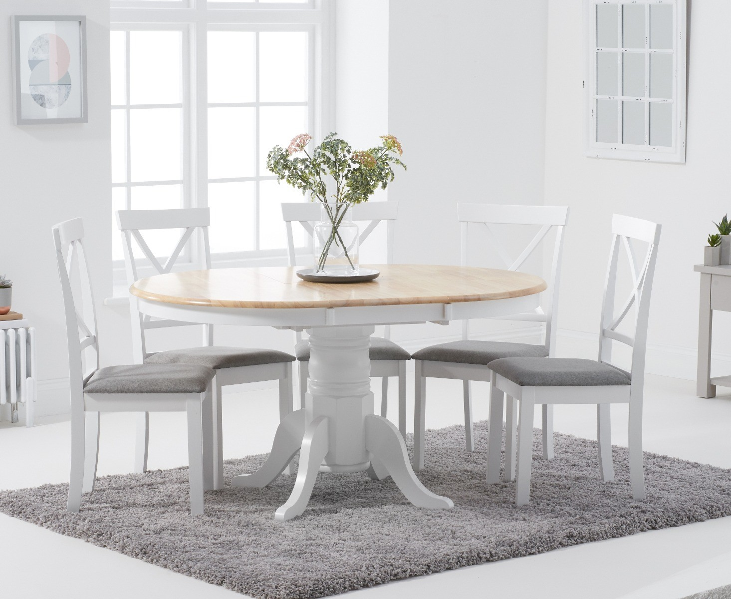 Epsom Oak and White Round Pedestal Extending Table with Epsom Chairs with  Grey Fabric Seats