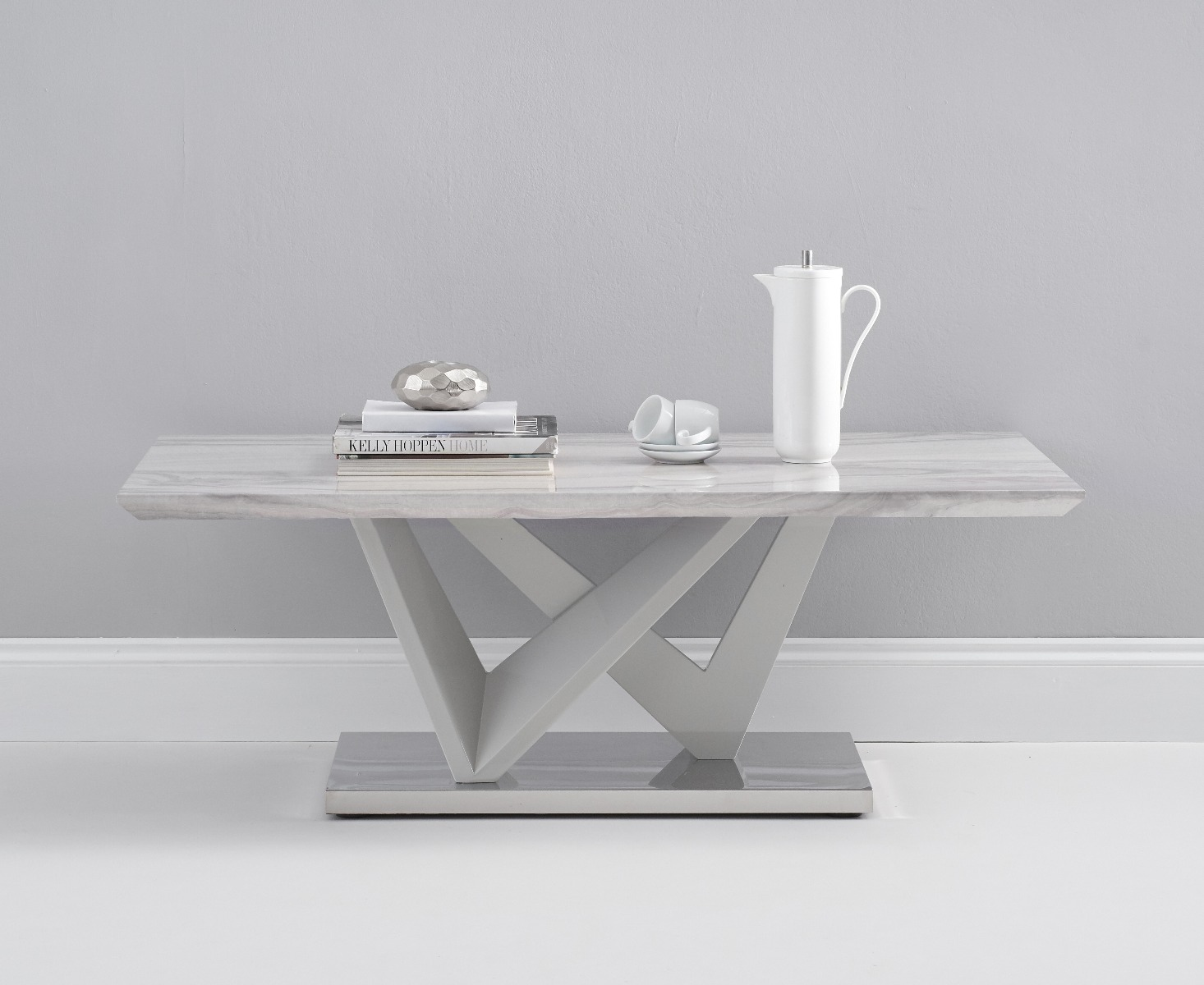 Reims Marble Effect Carrera Light Grey Coffee Table