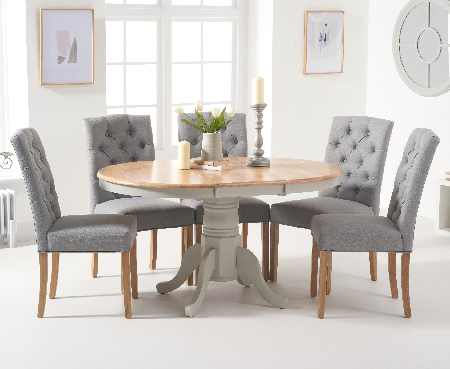 Epsom Oak and Grey Pedestal Extending Dining Table with Claudia Grey Fabric  Dining Chairs
