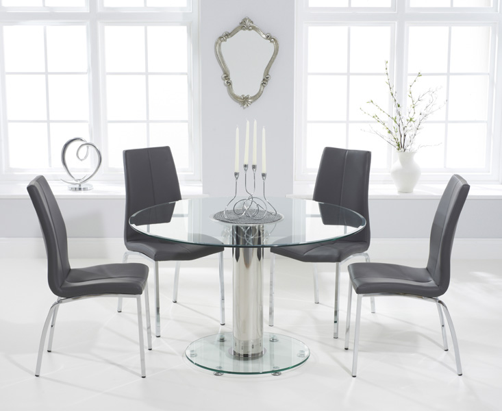 Sofia 120cm Round Glass Dining Table With Cavello Chairs