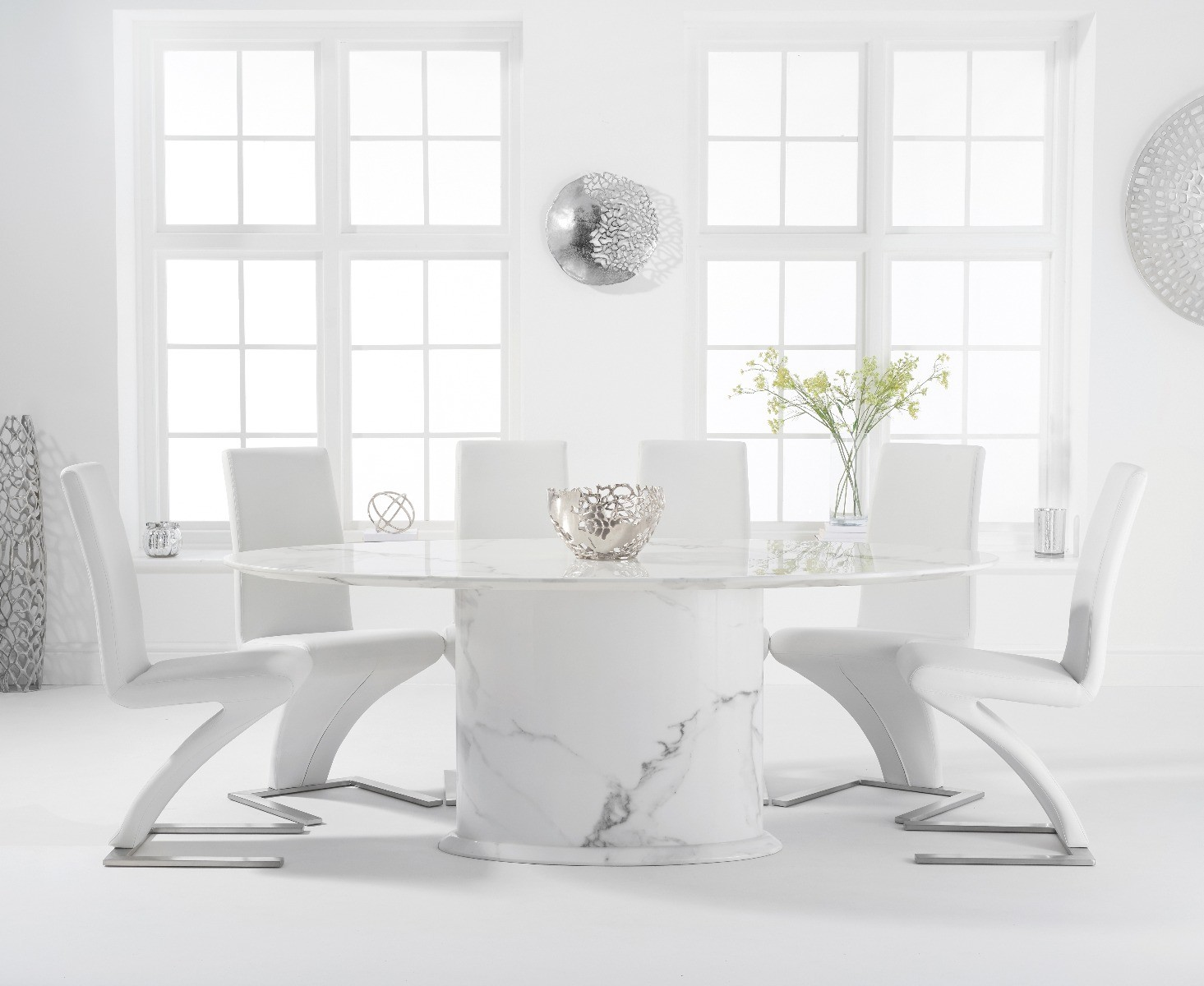 Colby 200cm Oval White Marble Dining Table With Hampstead Chairs