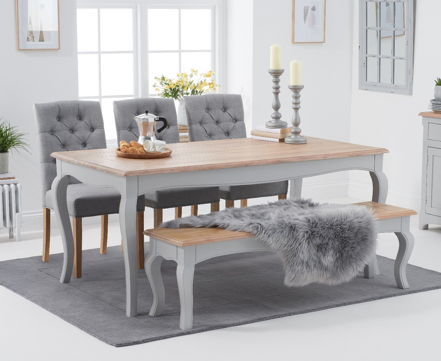 Picture of: Parisian 175cm Grey Shabby Chic Dining Table With Claudia Fabric Chairs And Benches