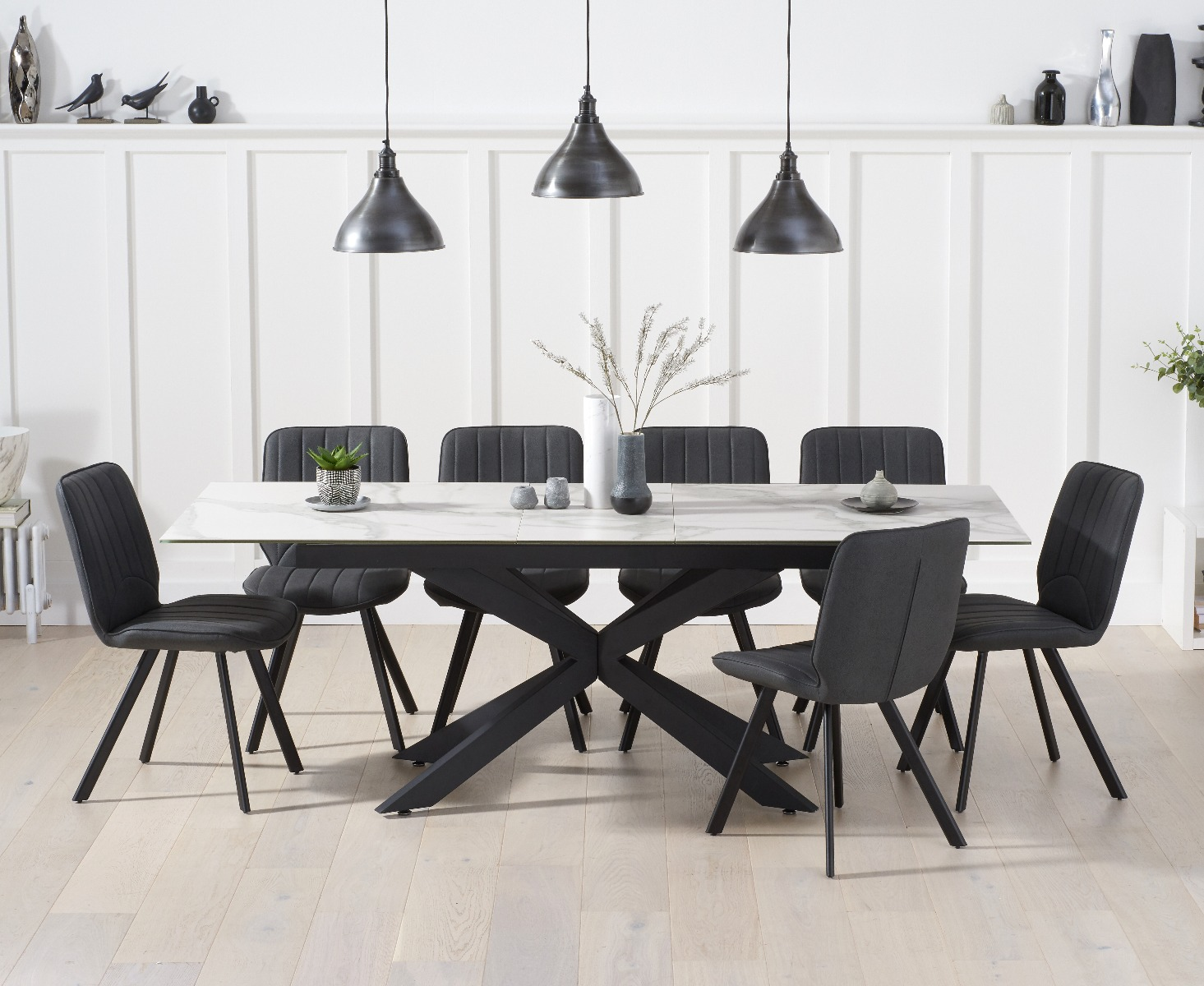 Boston 180cm White Ceramic Extending Dining Table With Dexter Faux Leather Chairs
