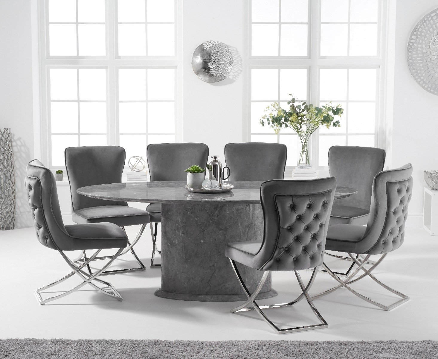 Colby 200cm Oval Grey Marble Dining Table With Giovanni Velvet Chairs