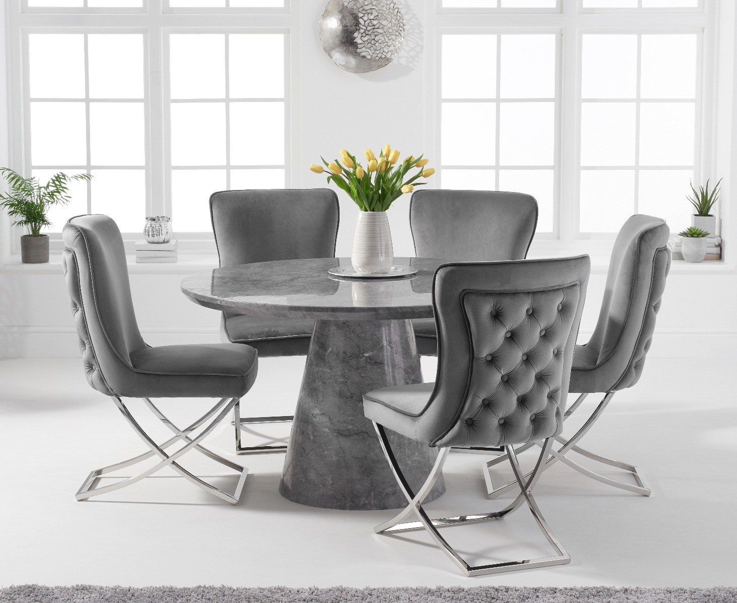 Ravello 130cm Round Grey Marble Dining Table With Giovanni Velvet Chairs