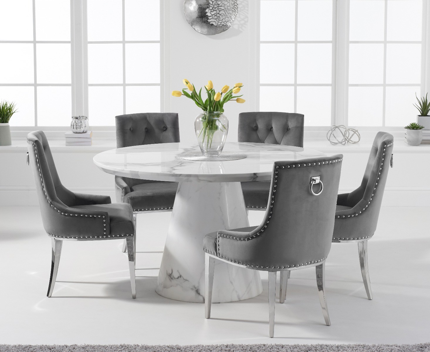 Ravello 9cm Round White Marble Dining Table with Talia Velvet Chairs