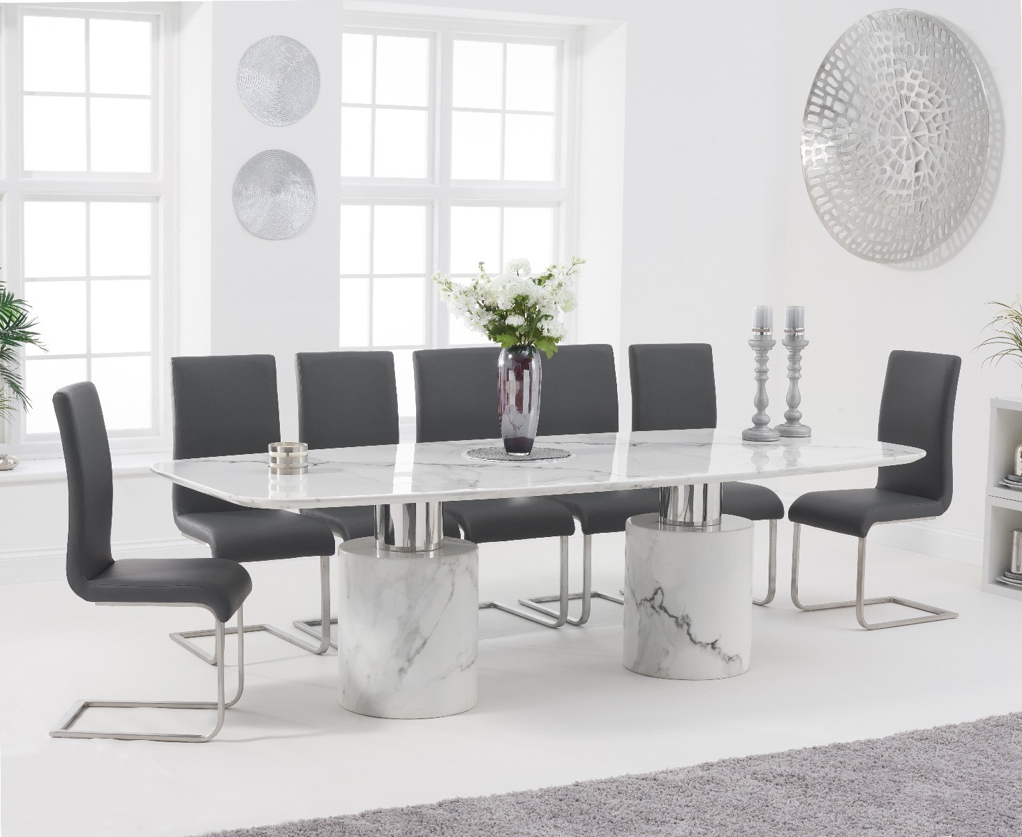 Antonio 260cm White Marble Dining Table With Malaga Chairs Antonio