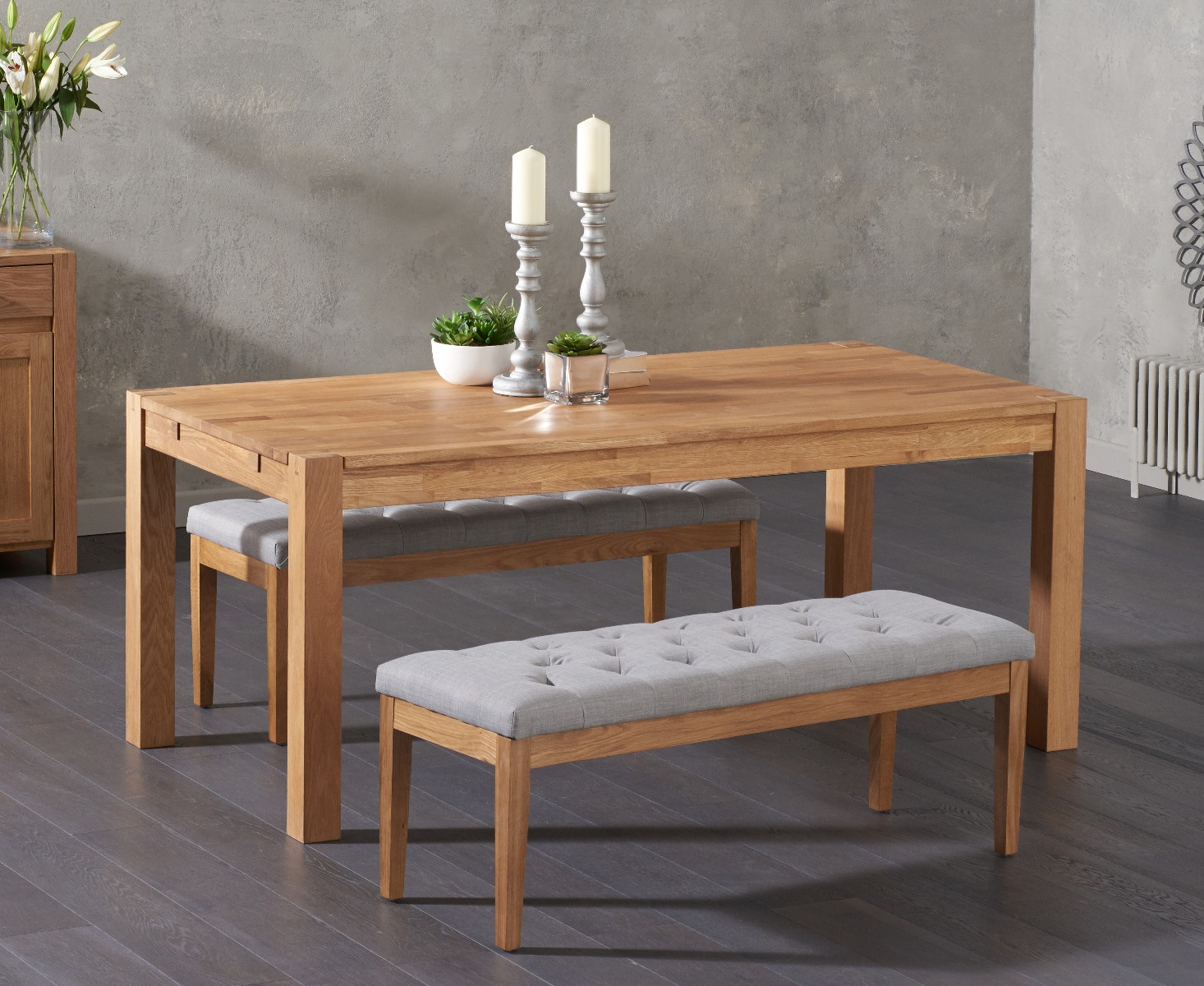 Fine Verona 150Cm Solid Oak Dining Table With Camille Grey Fabric Benches Home Interior And Landscaping Ologienasavecom