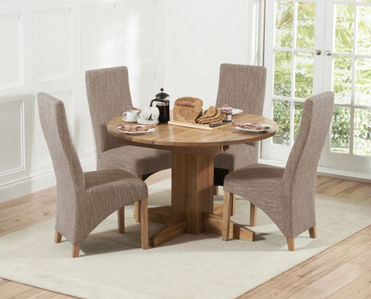 Dorchester 120cm Solid Oak Round Extending Dining Table with Henley Fabric Chairs & Dorchester 120cm Solid Oak Round Extending Dining Table with Henley Fabric Chairs