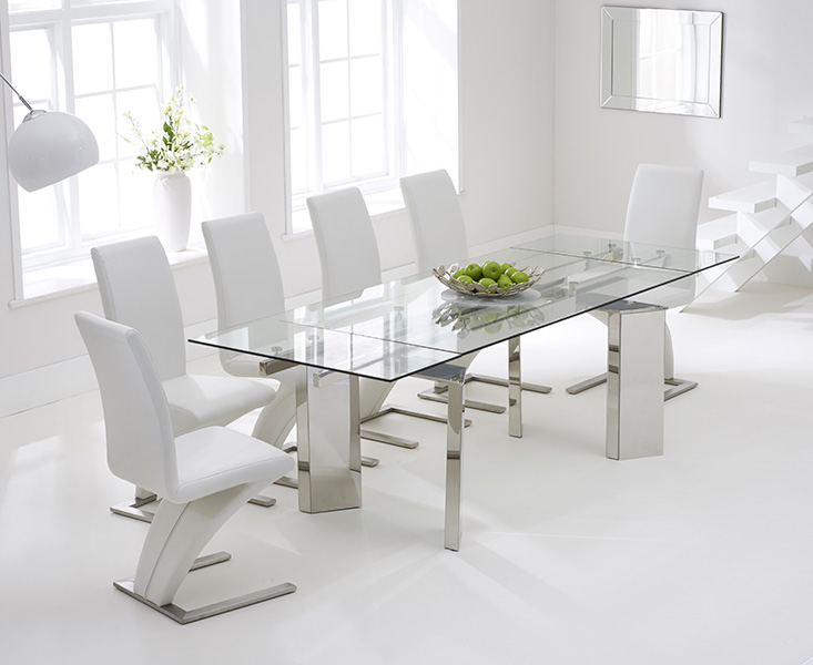 new product 6481f 3f3e2 Mozart 160cm Extending Glass Dining Table with Hampstead Z Chairs