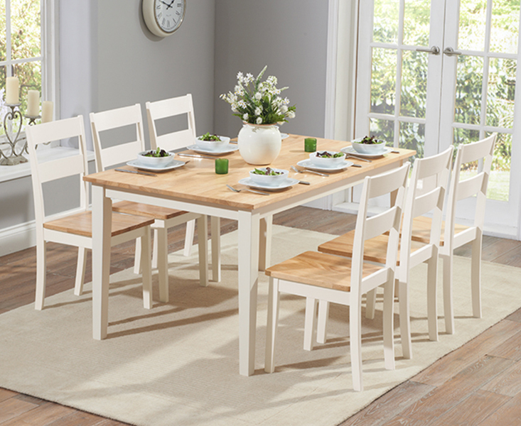 Chiltern 150cm Oak And Cream Dining, Cream Coloured Kitchen Table And Chairs