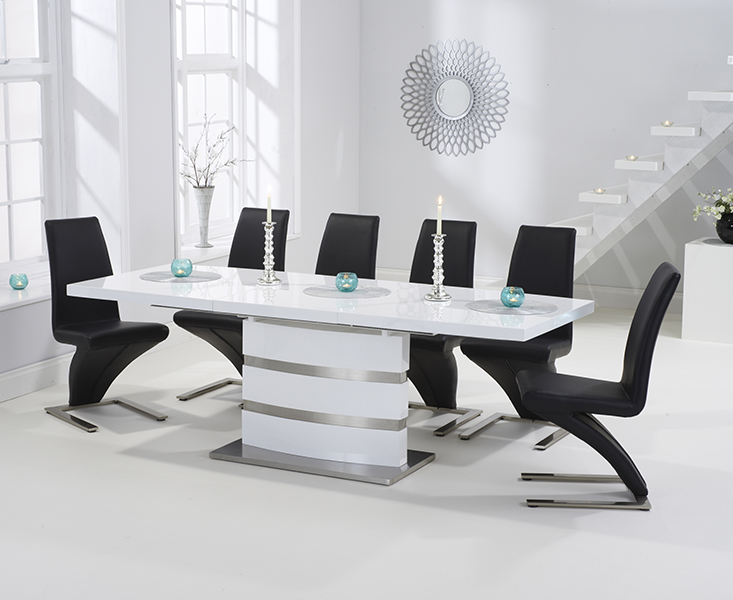 Babington 160cm White High Gloss Extending Dining Table With Hampstead Z  Chairs