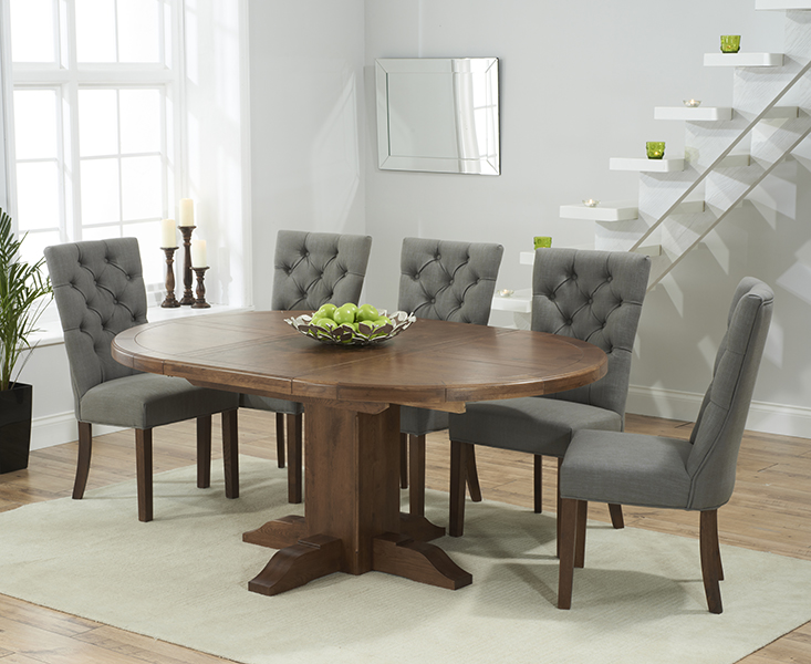 Torino Dark Solid Oak Extending Pedestal Dining Table With Anais