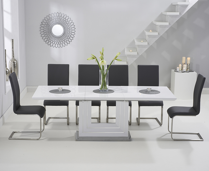 Malaga white gloss extendable dining