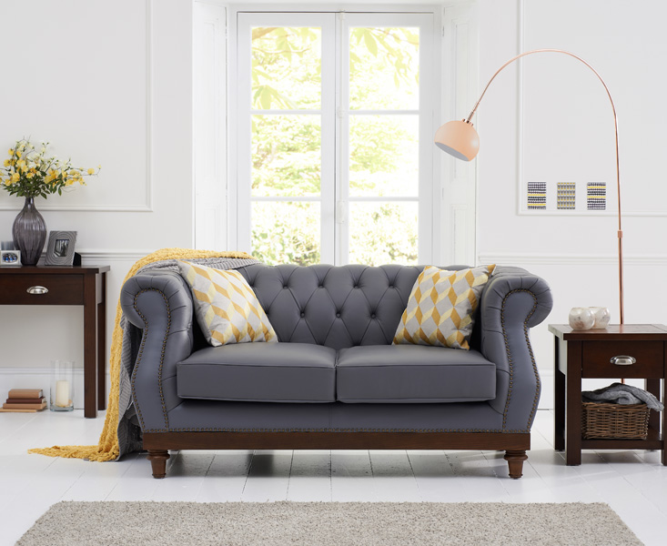 Admirable Henbury Chesterfield Grey Leather 2 Seater Sofa Pabps2019 Chair Design Images Pabps2019Com