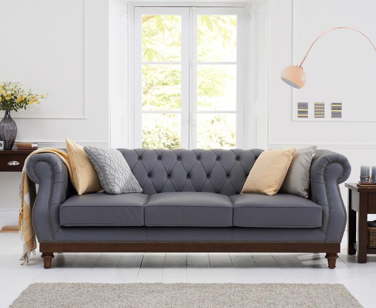 Henbury Chesterfield Grey Leather 3 Seater Sofa